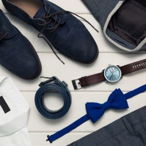 Kolekcja męska buty, zegarek mucha, garnitur